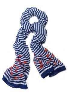 Palm Springs Scarf - Navy Stripe Elephant: