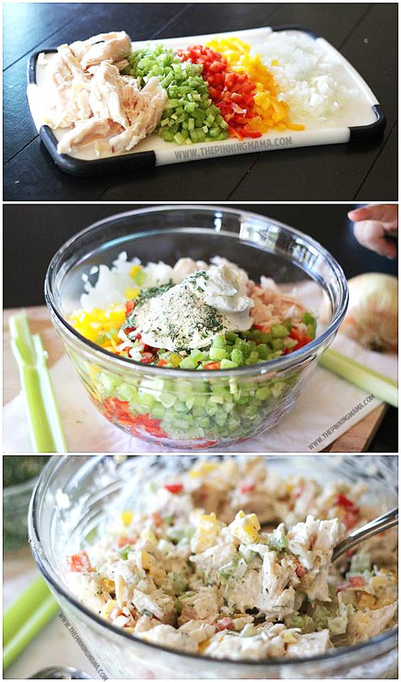 Homemade Ranch Chicken Salad Recipe. Easy and Healthy for the WIN!!! This is perfect food for a baby or wedding shower too!: