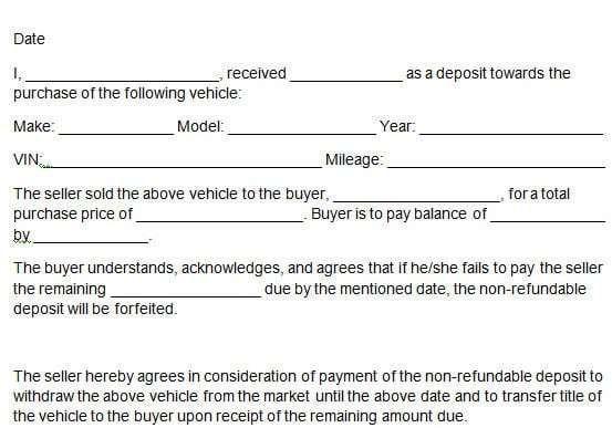 Car Deposit Form 212 Deposit Infotainment Excel Templates