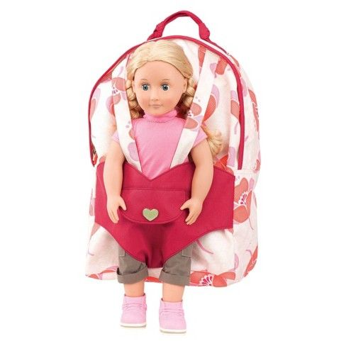 18in Baby Doll Carrier Backpack Toy Shoulder Bag Girl Pretend Play Toys Carring#