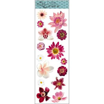 Pink Flowers Vinyl Poster 11 3 4 X 36 With Images Vinyl Poster Vinyl Wall Decals Mirror Wall Decor