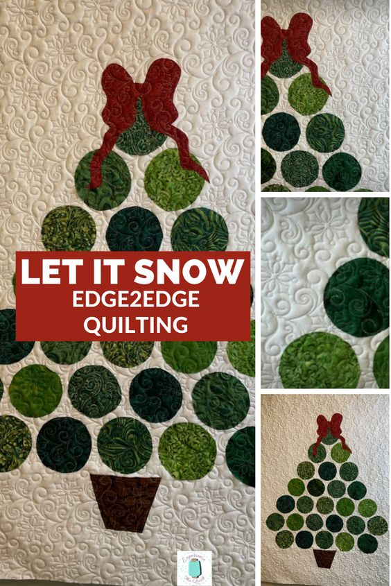 This fun, applique quilt will help anyone get in the Spirit of the season. The quilting pattern is called Let it Snow. Don't you love that the small snowflakes look like they are falling on the tree? #experiencethequilt #e2equilting #quilting #Christmas #applique #letitsnow
