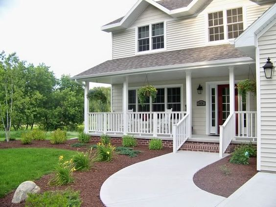 Front porches porches and landscaping on pinterest for Front porch landscaping ideas