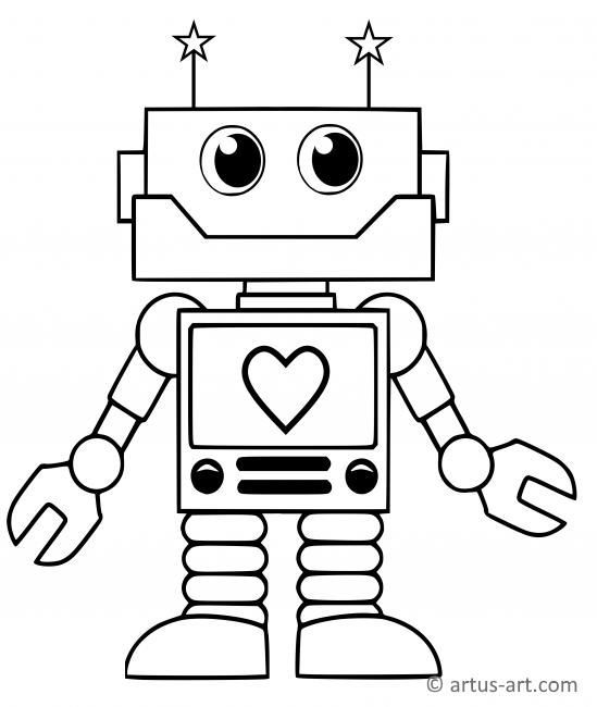 Sweet Robot Coloring Page Printable Coloring Page Artus Art Cute Coloring Pages Dinosaur Coloring Pages Kindergarten Coloring Pages