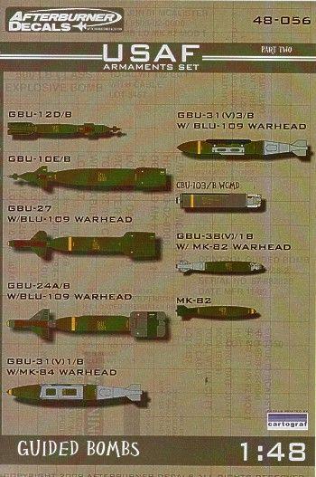 USAF Armaments Pt 2. Detail decals for GBU-12D/8; GBU-10E/B; GBU-24A/B; GBU-319V)1/B; GBU-31(V)3/B; CBU-103/B; GBU-38(V)1B; Mk-82