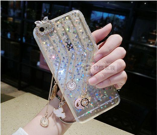 Quasten Uhr transparent einfach mit der Paillette Handyhülle für Iphone6/6s/6plus