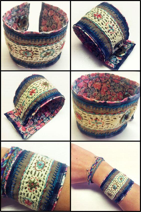 Handmade embroidered bracelet, made with 4 layers of fabric and lace, hand embroidered #bracelet #embroidery #diy #handmade: