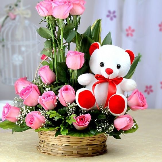 #Pink flower with teddy.. Order