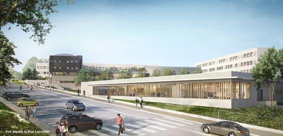 Vue depuis la rue du projet, le restaurant scolaire (1000 couverts/jours) au 1er plan