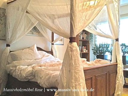 Himmelbett aus massiv Holz in Naturwachs - Massivholzmöbel Rose