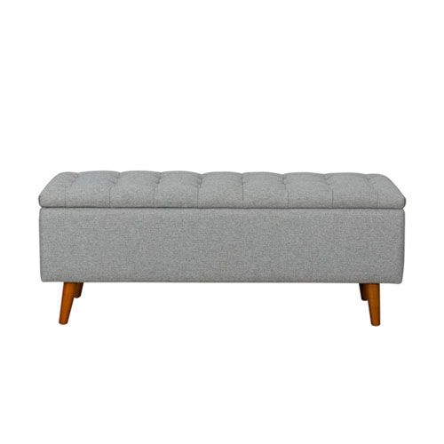 251 First Uptown Storage Bench In Light Grey Contemporary