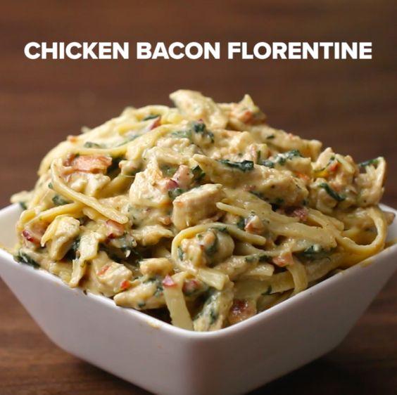 Chicken Bacon Florentine Fettuccine | 17 Easy Fettuccine Recipes You Can Make On A Weeknight