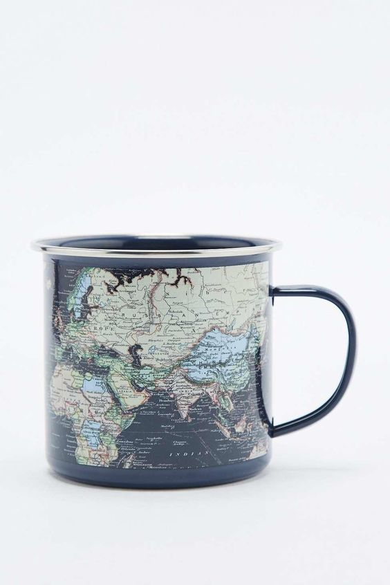 World Map Enamel Mug - Urban Outfitters from Urban Outfitters. Saved to Quick Saves.