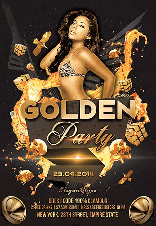 Golden Party Free Flyer PSD Template - http://freepsdflyer.com ...