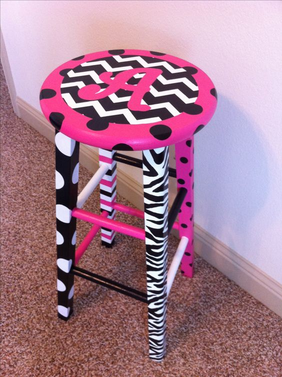 Hand painted teacher stool for my classroom. Love the colors and combination of chevron, polka dots, stripes, and zebra print patterns!