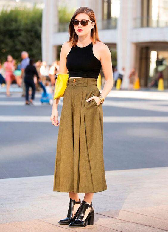 street style calca culotte com bota como usar looks cropped: