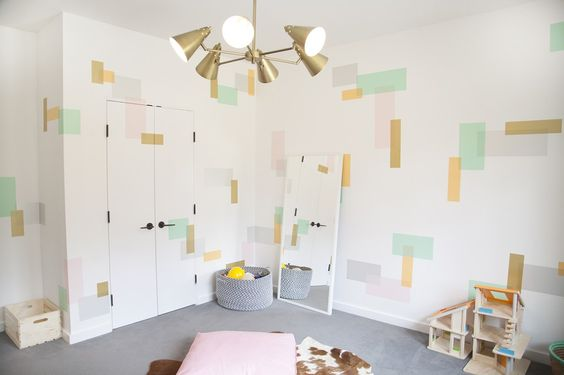 This playroom features a modern, fresh design achieved with - wait for it - washi tape! {Fab design by @playchic} #playroom #washitape