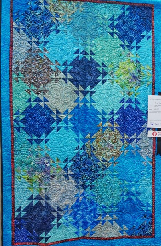 """Deep Water Blue"" – Made by Susan Norton and Quilted by Jackie Brown.  Quilt Plano 2015.  Photo by Press and Pin."