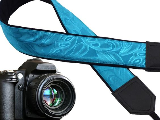 Light Blue camera strap with texture. Padded camera strap for DSLR and SLR cameras. Fashion accessories by InTePro. 00301