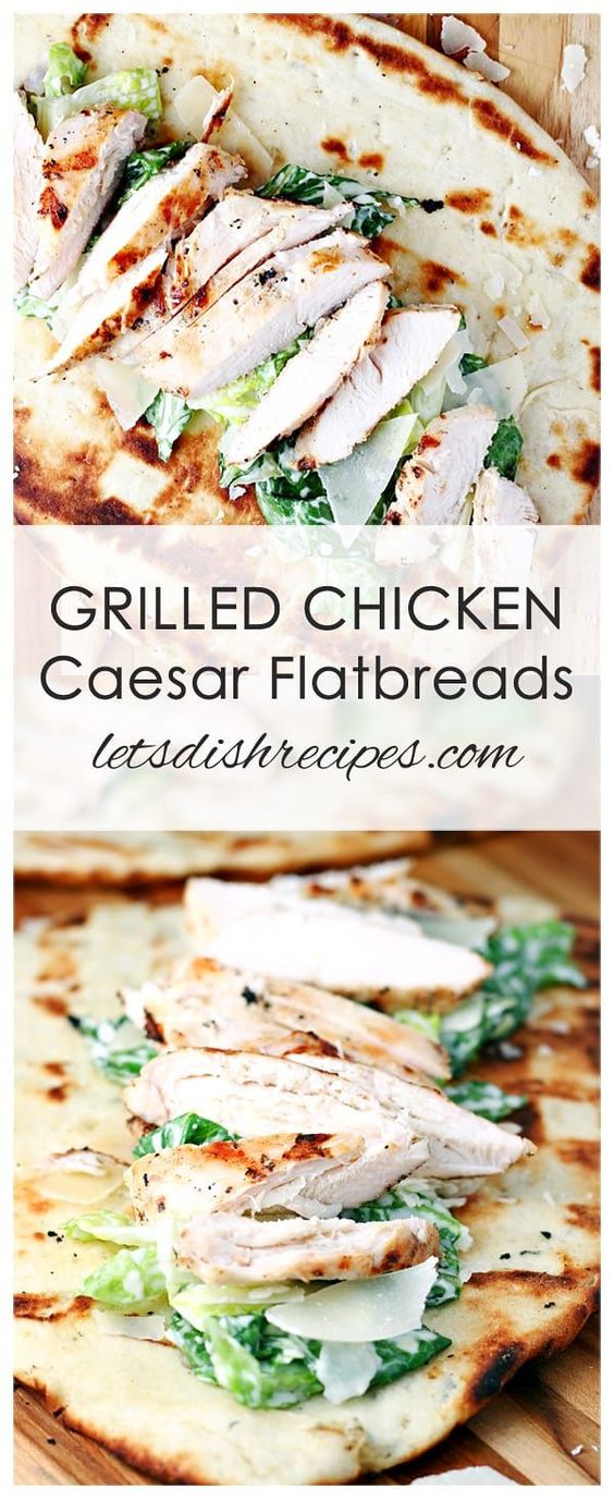 GRILLED CHICKEN CAESAR FLATBREADS RECIPE — Savory grilled chicken and Caesar salad are served up in warm flatbread in this light and easy dinner. #chicken #dinner #recipe #flatbread #caesar #grill