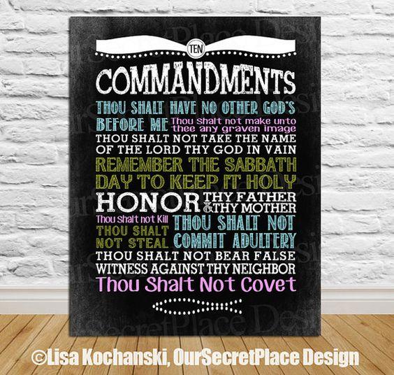 PRINTABLE Ten Commandments Exodus Scripture Wall Art King James Version Chalkboard Art Typography Home Decor Bible Exodus 20 Deuteronomy on Etsy, $10.96 AUD