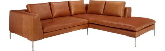 Montino 2-Sitzer-Sofa aus Leder, Chaiselongue rechts (www.habitat.fr)