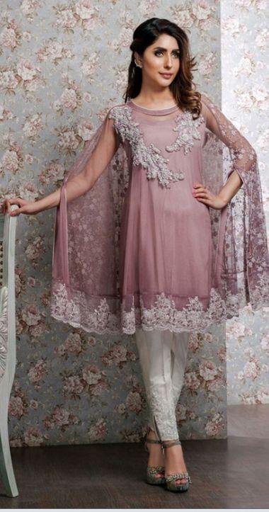 Stitching Styles Of Pakistani Dresses Purple Cape Style Shirt