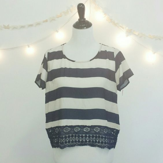 """{N.W.T} Cropped Sheer Striped Lace Trim Top """"Xhilaration"""". N.W.T Sheer Striped Lace Trim Top . From Target. JUNIORS Sizing. RUNS SMALL. Great Condition.  > MEASUREMENTS  Length : 21"""" Bust: 20"""" Waist: 21"""" Arm/Sleeve: 6 1/2"""" Keyhole Length: 4""""  Please Ask Questions Before Purchasing  ALL SALES ARE FINAL  NO TRADES  NO PAYPAL  NO HOLDS NO LOW BALL OFFERS Xhilaration Tops Crop Tops"""