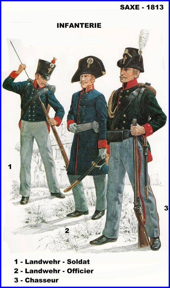 Regno di Sassonia - 1813 - Fanteria - 1 Ufficiale - 2 Soldato - 3 Cacciatore