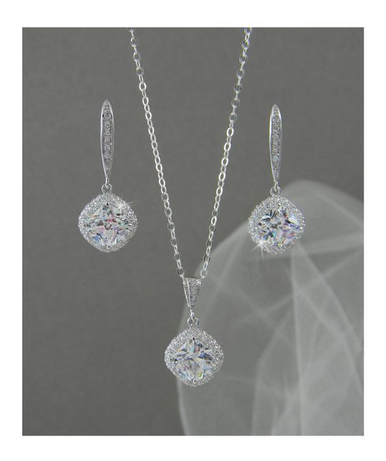 Crystal Bridal Set, Bridesmaids Jewelry Set, Cushion Cut Swarovski Crystal Pendant and Earrings, Wedding Jewellery, Molly Bridal Jewelry SET