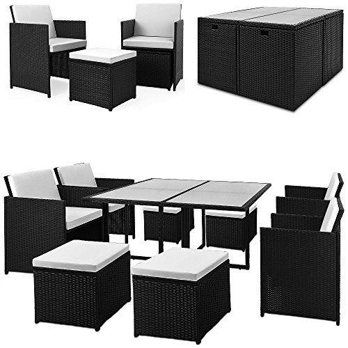 Polyrattan Sitzgarnitur Glastisch Frei Kombinierbar Kompakt Sitzgarnitur Ineinander Verstaubar Tisc Mobili Da Giardino Sedie Sala Da Pranzo Sala Da Pranzo