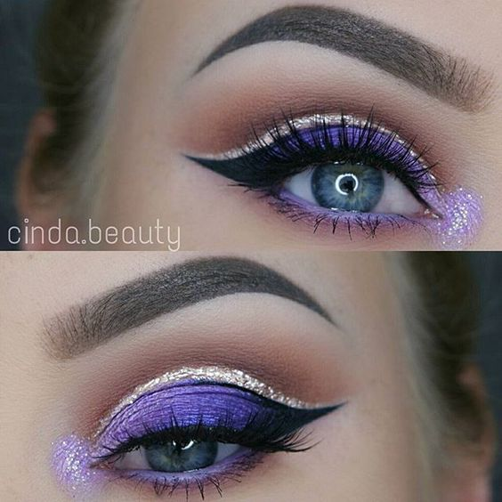 Bright eye look with gold liner.
