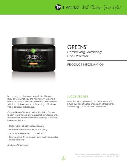 Do you want to feel better! Try It Works Global Greens. Get 8+ servings of fruits and vegetable's with every serving of It Works Global Greens!