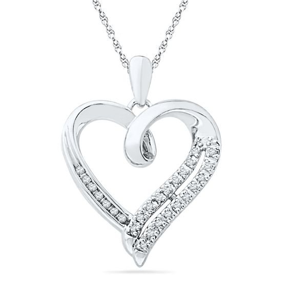Amazon.com: Sterling Silver Round Diamond in Heart Pendant (1/10 cttw): Pendant Necklaces: Jewelry