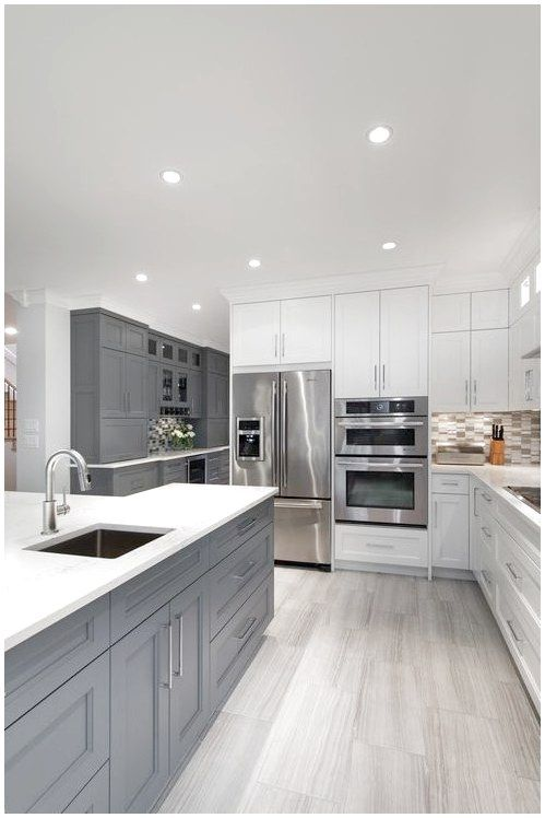Modern White Gray Kitchen Bright Modern Gray White Kitchen Gray Cabinets White Cabinets Grey Kitchen Floor Grey Kitchen Designs Gray And White Kitchen