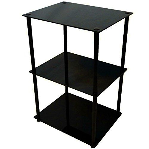 3 Tier Side Table Tempered Glass Top Stainless Steel Frame Black Modern Sleek Open Shelves C Glass End Tables Convenience Concepts Accent Furniture Living Room