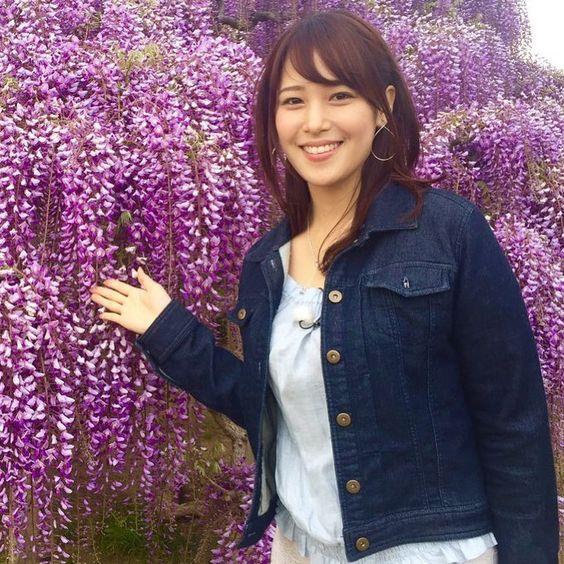 鷲見玲奈とお花の綺麗な画像