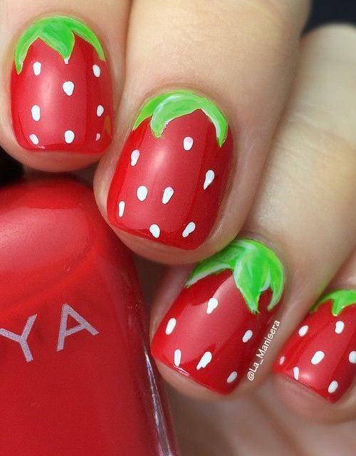 16 Interesting Food Nail Designs to Try: #1. Adorable Strawberry Nail Design: