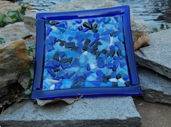 Small Fused Glass Plate / Dish  Blue Textured by FridayDesigns2012, $25.00