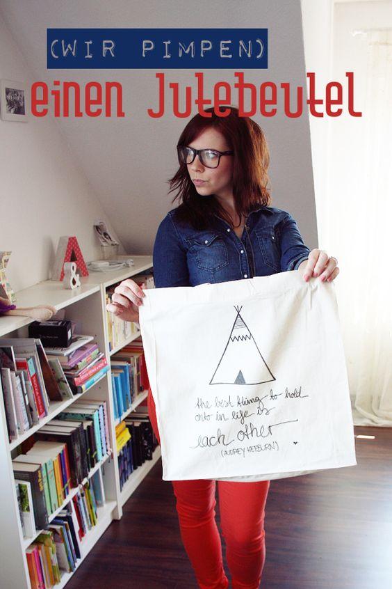 Jutebeutel DIY: Mit Textilstift beschreiben