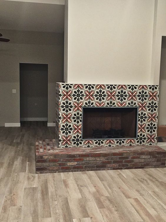 Cement Tile Fireplace Surround Cle Tile Planning To Add A Barn Wood Mantle From Porter Barn Wood Fireplace Tile Wood Mantle Fireplace Surrounds