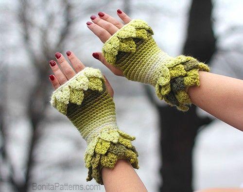 Crocodile Stitch Leafy Fingerless Gloves ePattern - ()