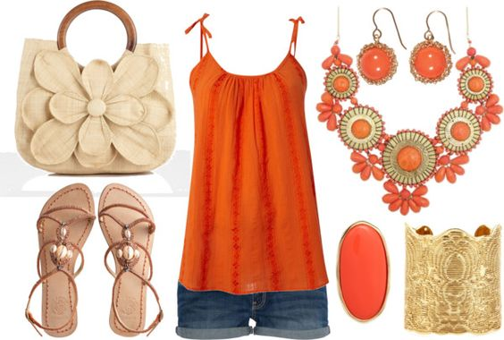 Orange Summer, created by calista1275 on Polyvore: Summer Orange, Summer Fashion, Orange Summer, Summer Style, Cute Casual Outfits, Bright Orange, Cute Summer Outfits, Fashionista Outfits