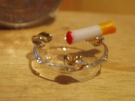 Dollhouse Miniature Glass Ashtray with Cigarette
