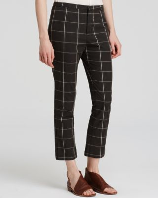 Free People Plaid Cropped Pants | Bloomingdale's