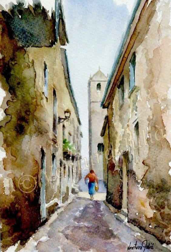 OBRA ARTISTICA - ACUARELAS: Volviendo a casa - Acuarela sobre papel - 33 X 24 cm.