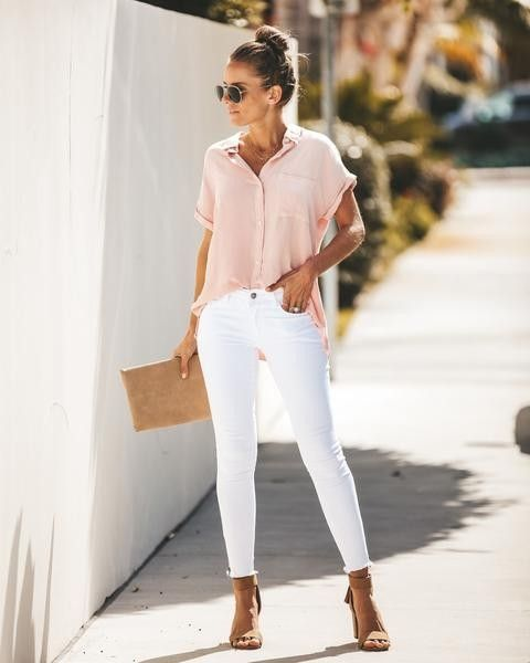 Blush Pink Top White Skinny Jeans Cute Outfit Cute Women S