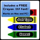 "Perfect for cubby doors, table names, bulletin boards, decorations, crayon themed classrooms, or just for fun! ""Your Name on a Crayon"" gives you ex..."