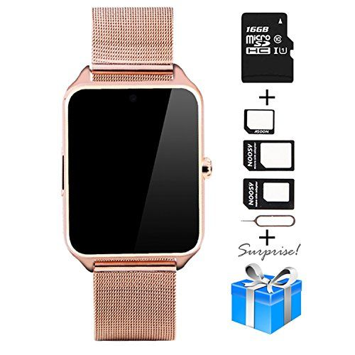 Smartwatch Collasaro Sweatproof Smart Watch Phone With Camera And Sim Card Slot Smart Watch For Android Samsung Ios Iphone Lg Sony Htc Smartphones Gold Metal Smart Watch Best Smart Watches Wireless
