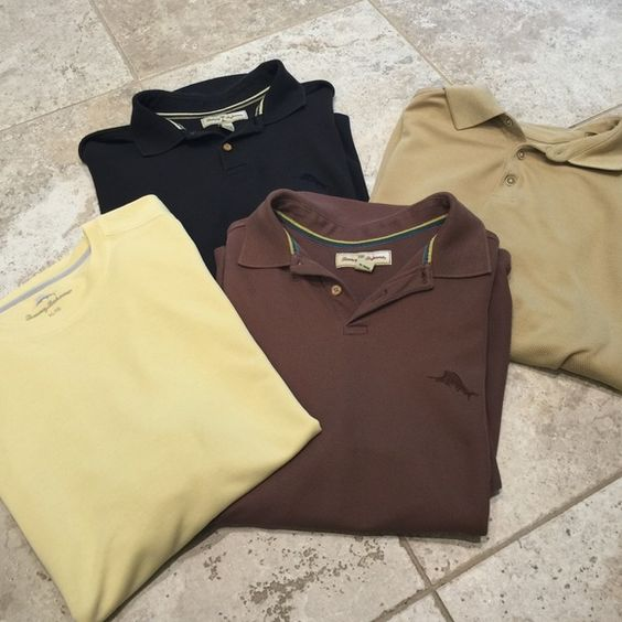 4 Tommy Bahama men's shirts All 4 shirts included in price...3 polo shirts and 1 is cotton shirt but they are all Tommy Bahama Tommy Bahama Tops Tees - Short Sleeve